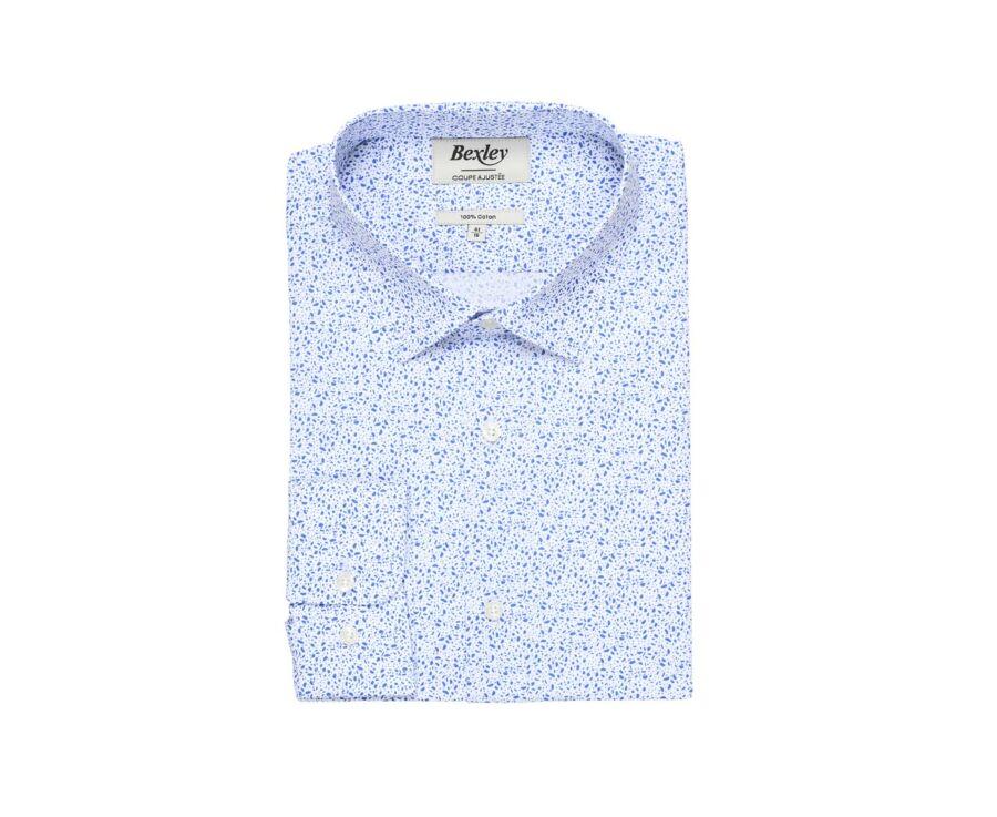 Chemise coton imprimée blanche tâchetée bleu - SIDOINE