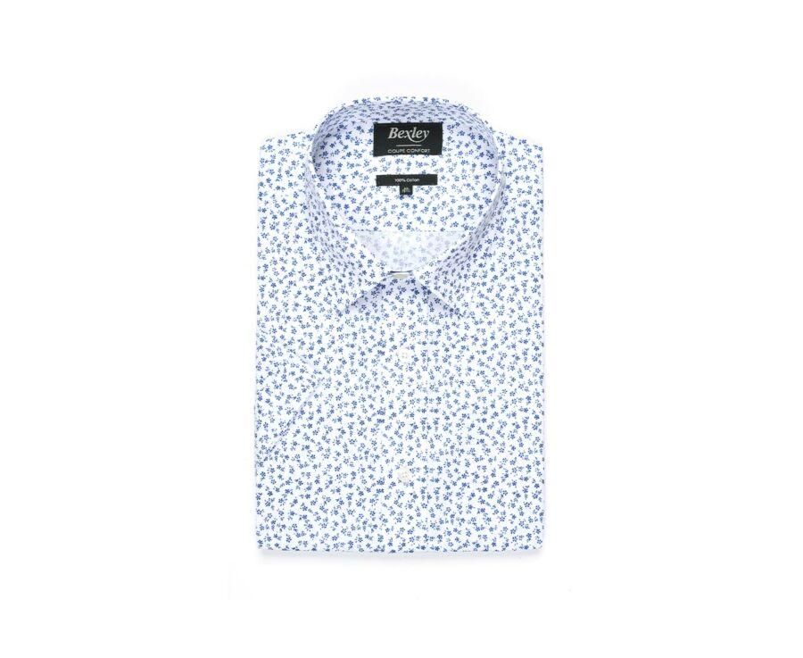 Chemise coton blanche imprimée fleurs bleues - FLORANTIN MC