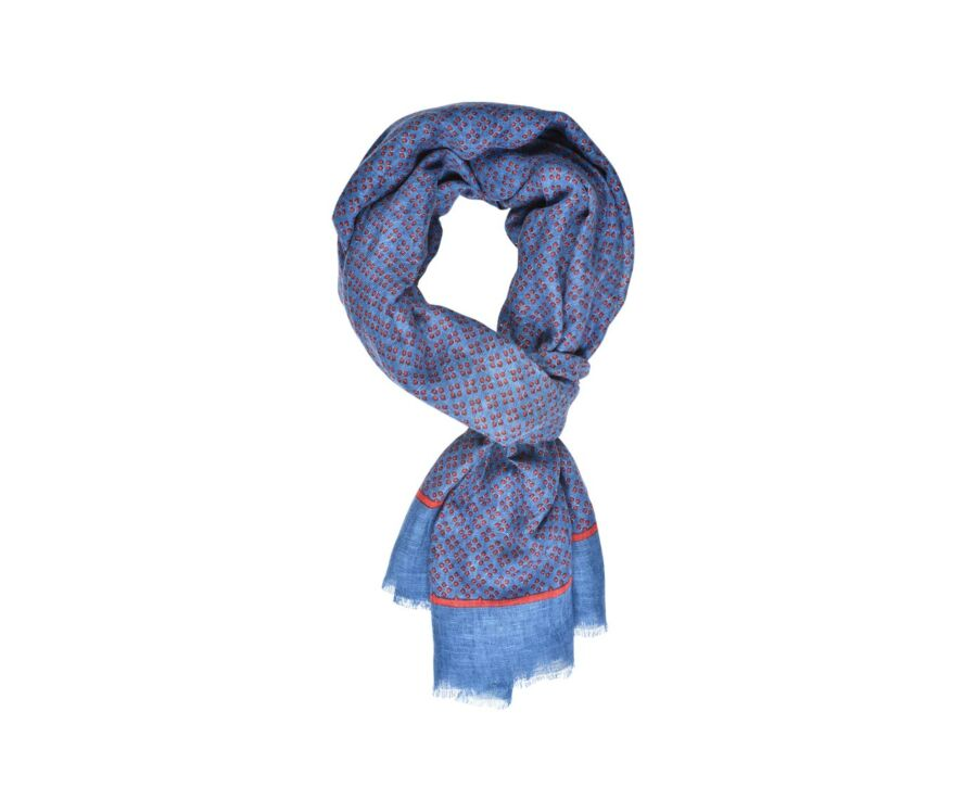 Cotton and Linen Thin Scarf Indigo Blue and Red