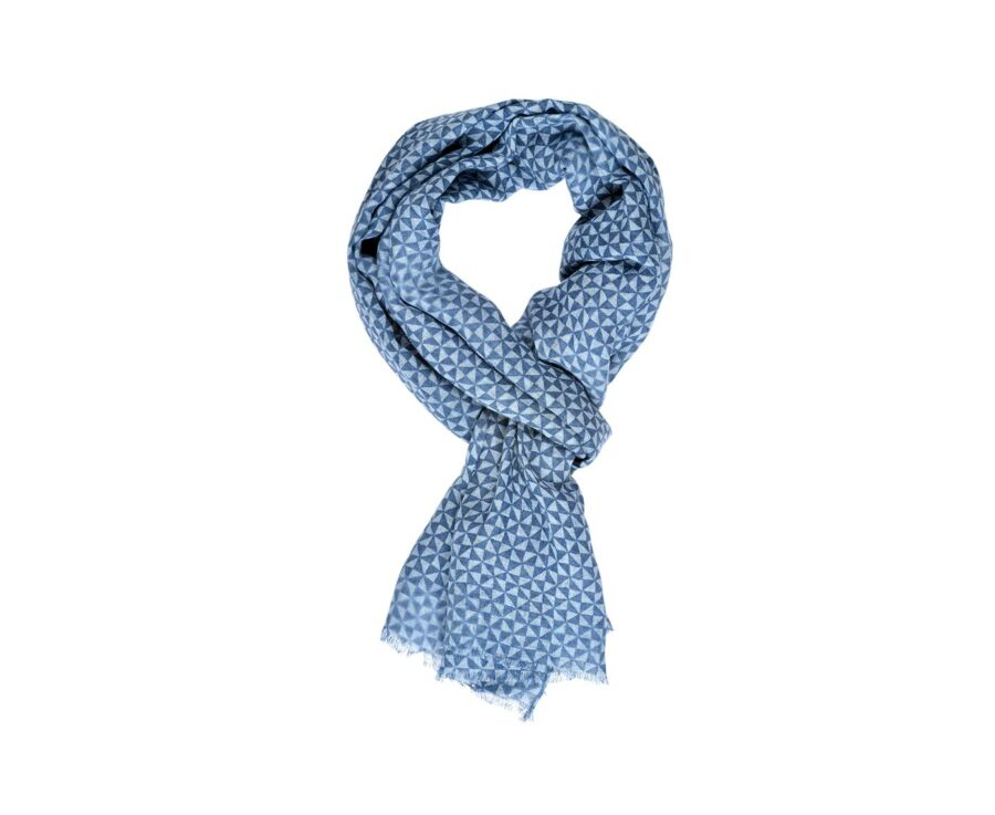 Cotton and Linen Thin Scarf Blue with Blue sky triangles