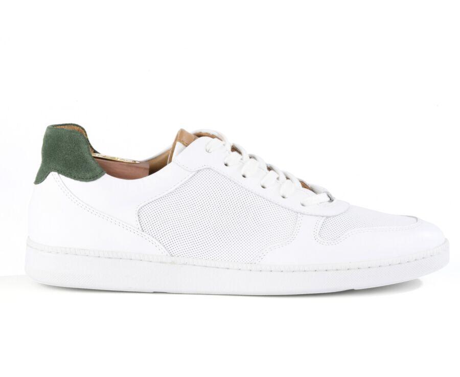 Sneakers homme cuir blanc perforé - BORONIA