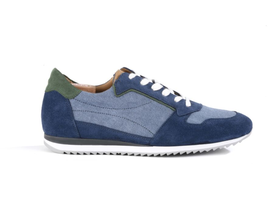 Sneakers homme cuir Velours Bleu et Vert - MOROCKA
