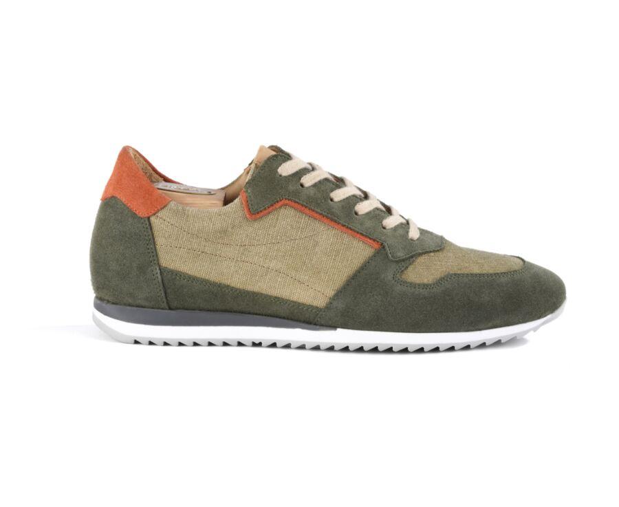 Sneakers homme cuir Vert et Orange - MOROCKA