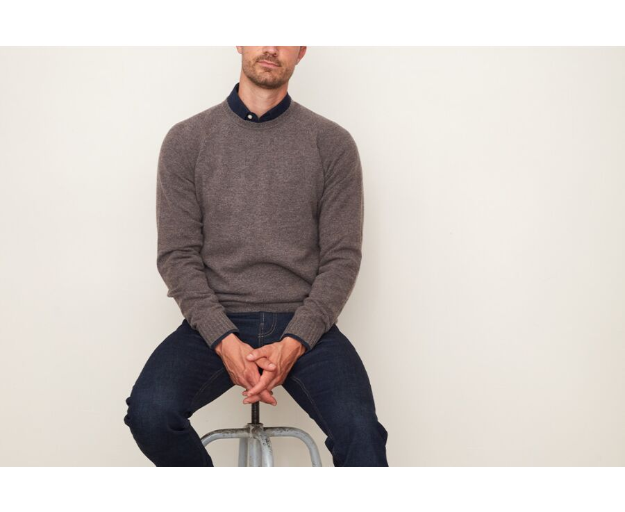 Pull homme en laine col rond Chocolat chiné - CONNIC