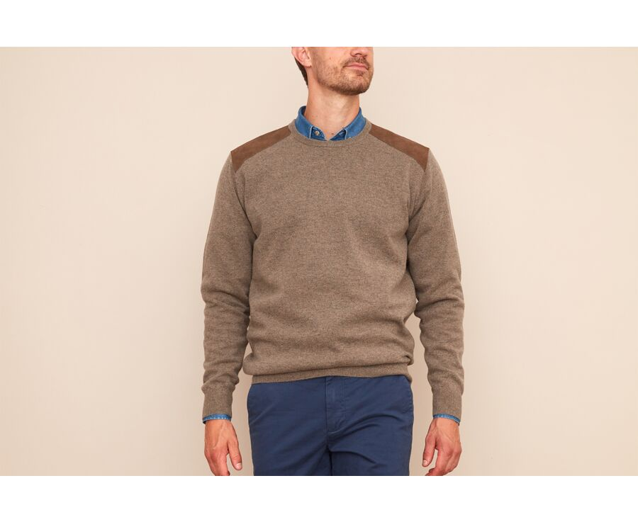 Pull laine homme col rond Gris taupe chiné - CONOW