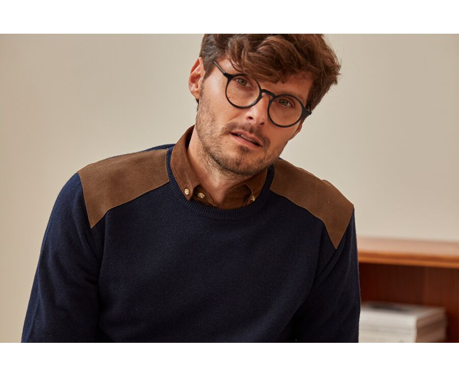 Pull laine homme col rond Bleu marine - CONOW