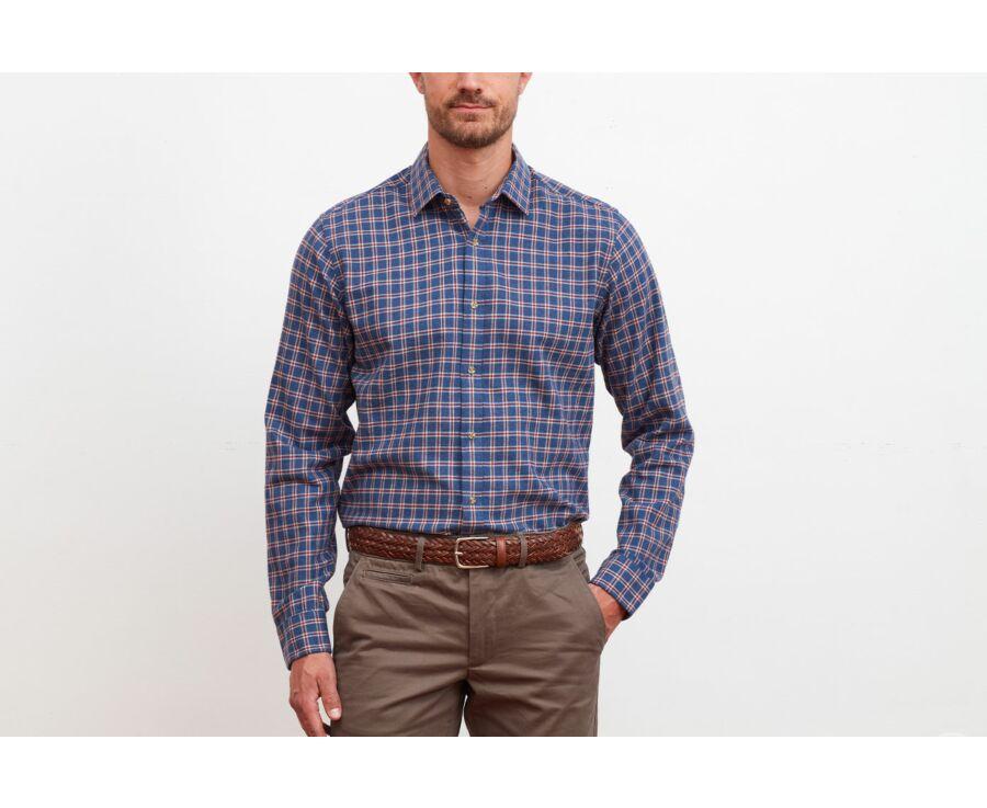 Chemise flanelle bleu à carreaux rouges - Col américain - PAULIN II
