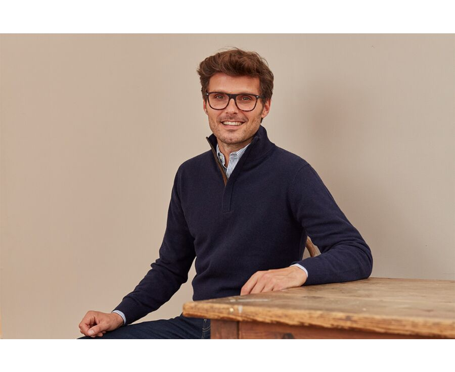 Pull homme laine col montant Navy - KEITHAN