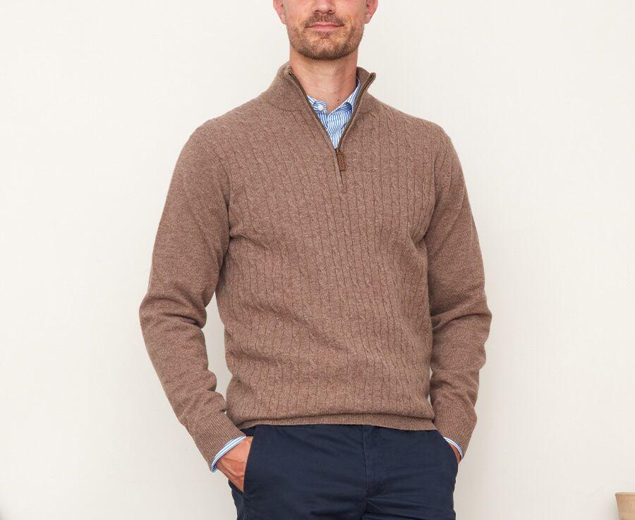 Pull homme laine à torsades col zippé Marron chiné - KEITHOR