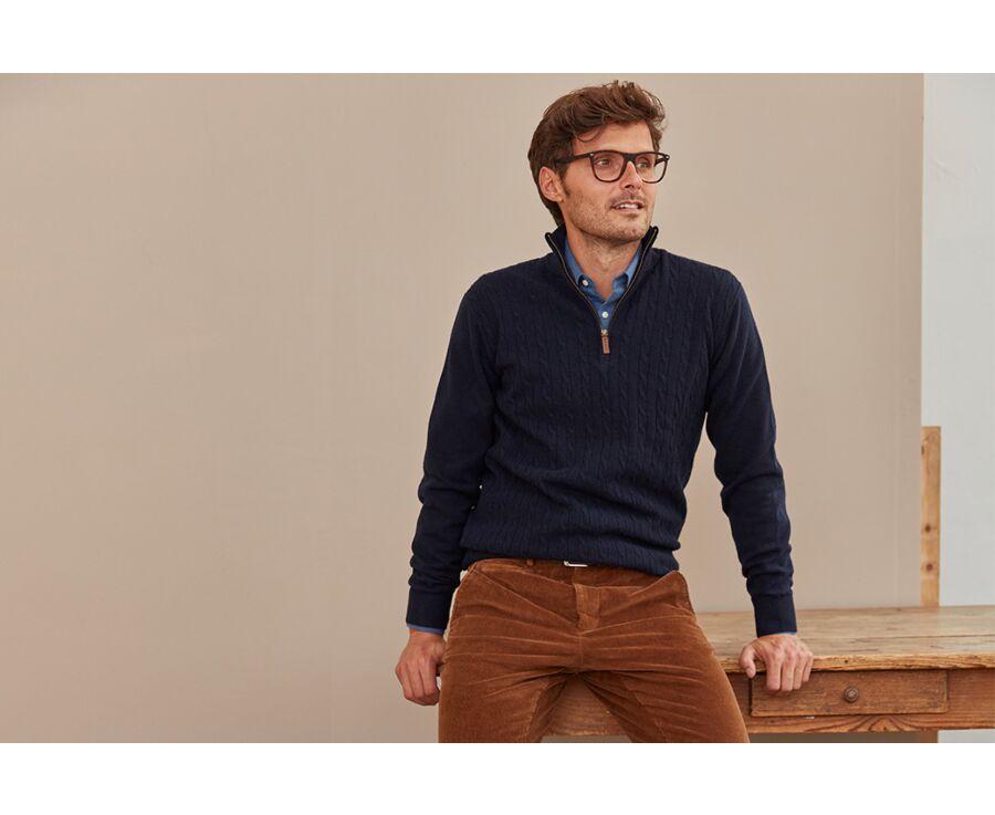 Pull homme laine à torsades col zippé Bleu marine - KEITHOR
