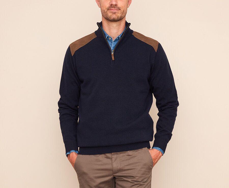 Pull homme laine à col zippé Bleu marine - KENAN