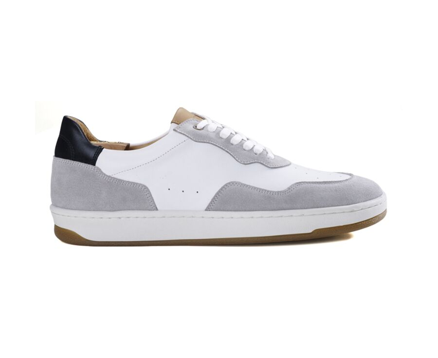 Sneakers blanches avec velours Beige homme - WONGARA