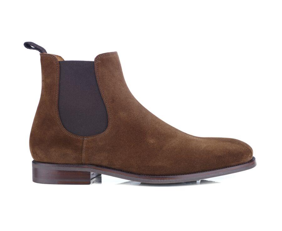 Chelsea boots velours homme Havane - ALDERTON GOMME