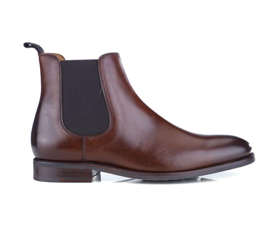 Chelsea boots cuir homme Cognac patiné - ALDERTON GOMME