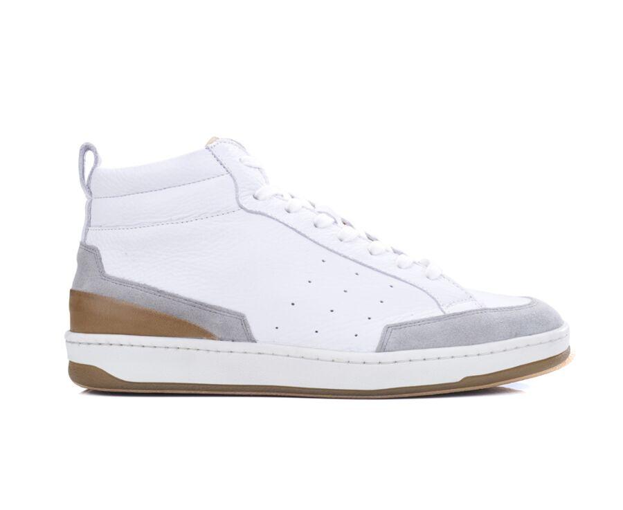 Sneakers homme cuir Blanc grainé - HALLORA
