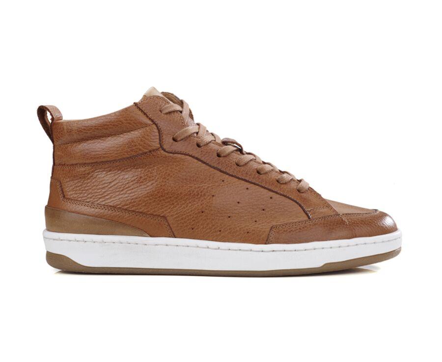 Sneakers homme cuir Châtaigne Patiné grainé - HALLORA