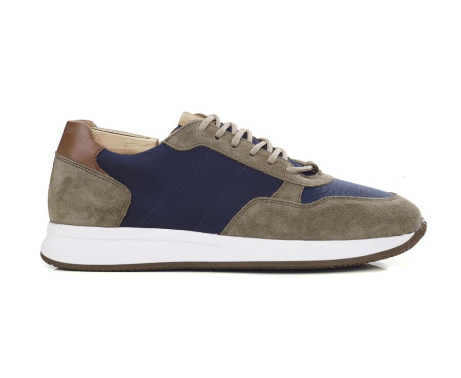 Sneakers homme velours Kaki et Navy - NIRRANDA