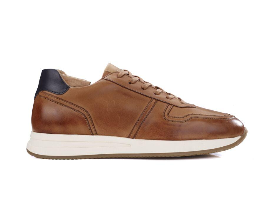 Sneakers homme cuir Noisette patiné - NIORA
