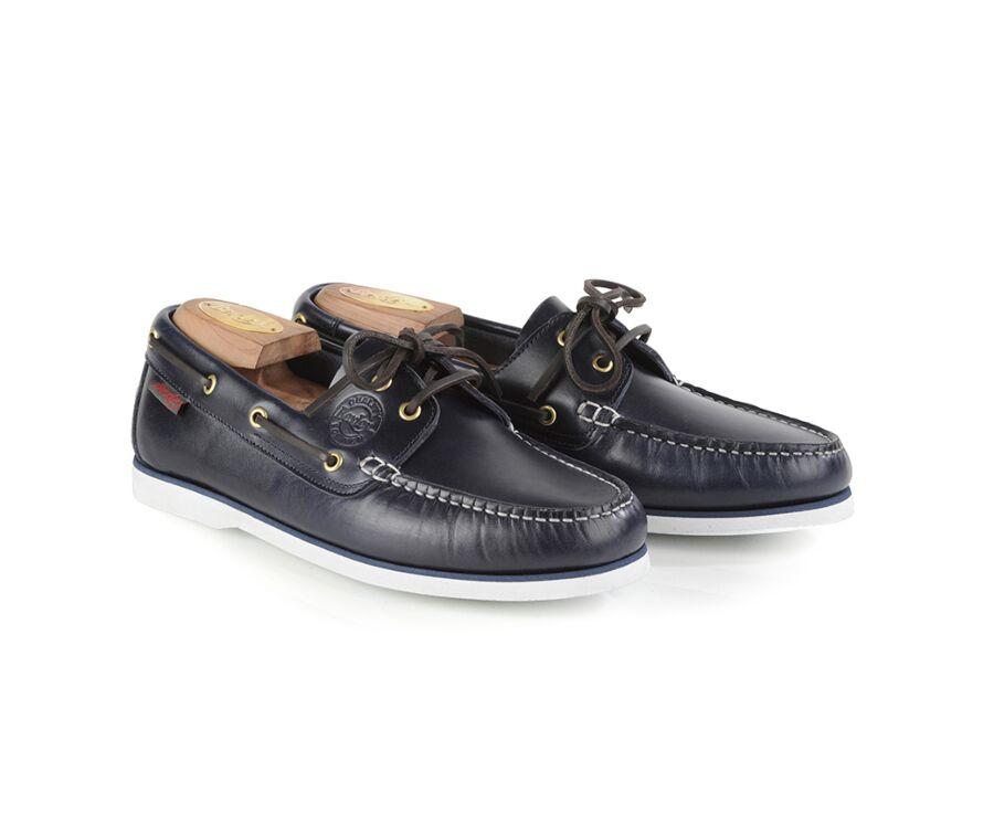 Chaussures bateau homme cuir Bleu Marine - TRAWLER