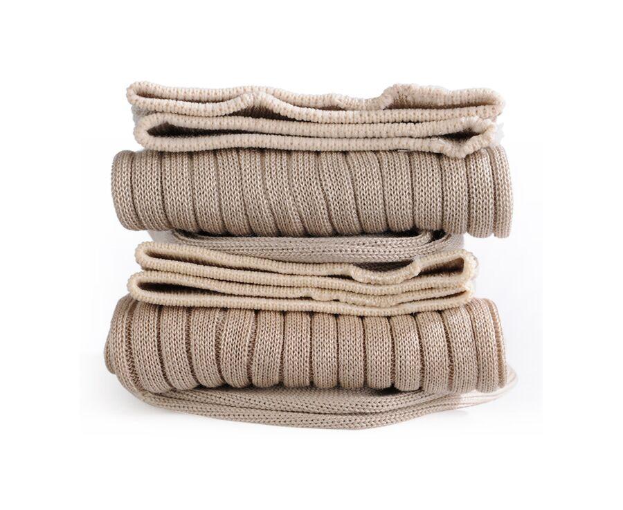 Chaussettes fils d'Ecosse avec côtes beige