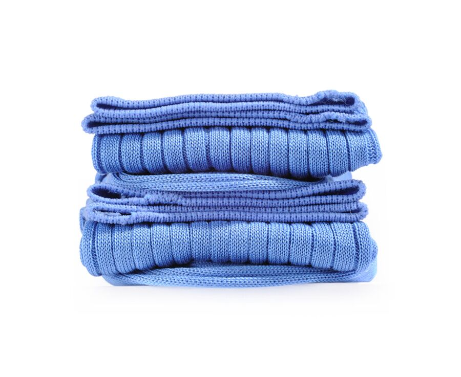 Mercerised Cotton Socks With Ribbing Middle blue