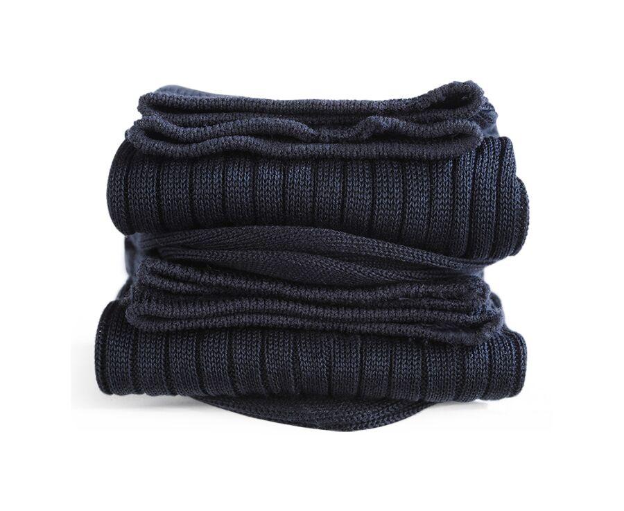 Mercerised Cotton Socks With Ribbing Navy