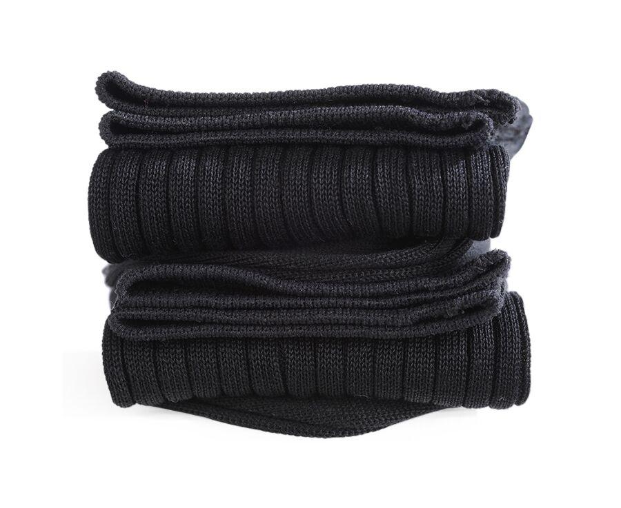 Chaussettes fils d'Ecosse avec côtes noir