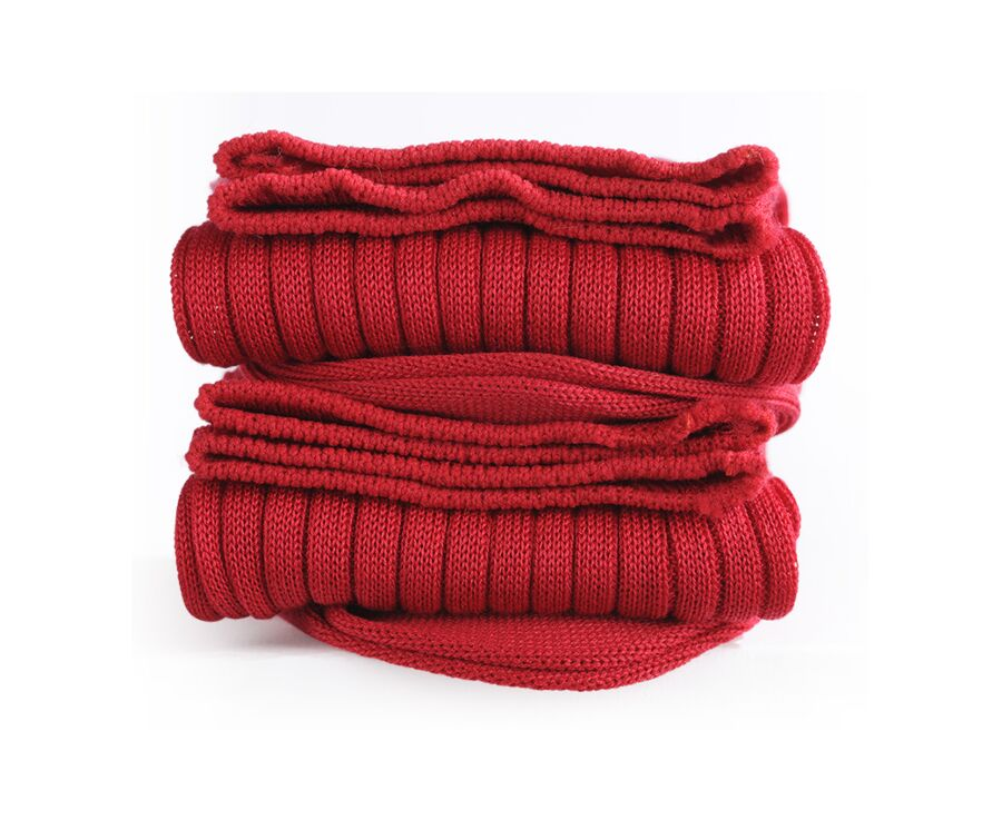 Mercerised Cotton Socks With Ribbing Red