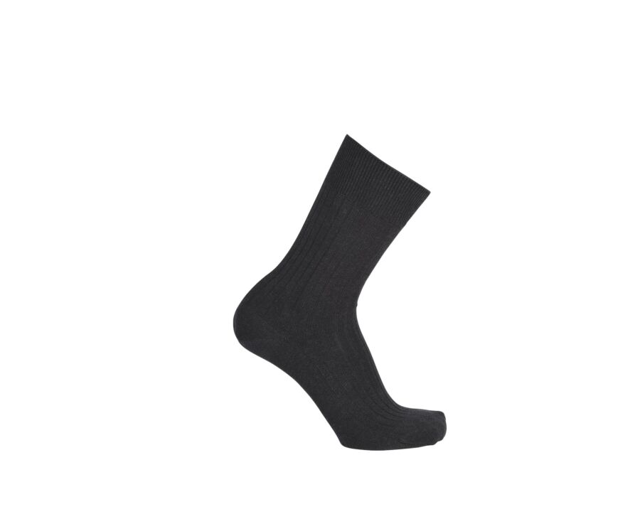 Mercerised Cotton Socks With Ribbing Grey Anthracite