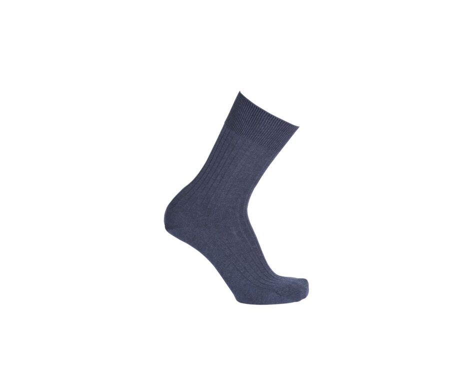 Mercerised Cotton Socks With Ribbing Blue Melange