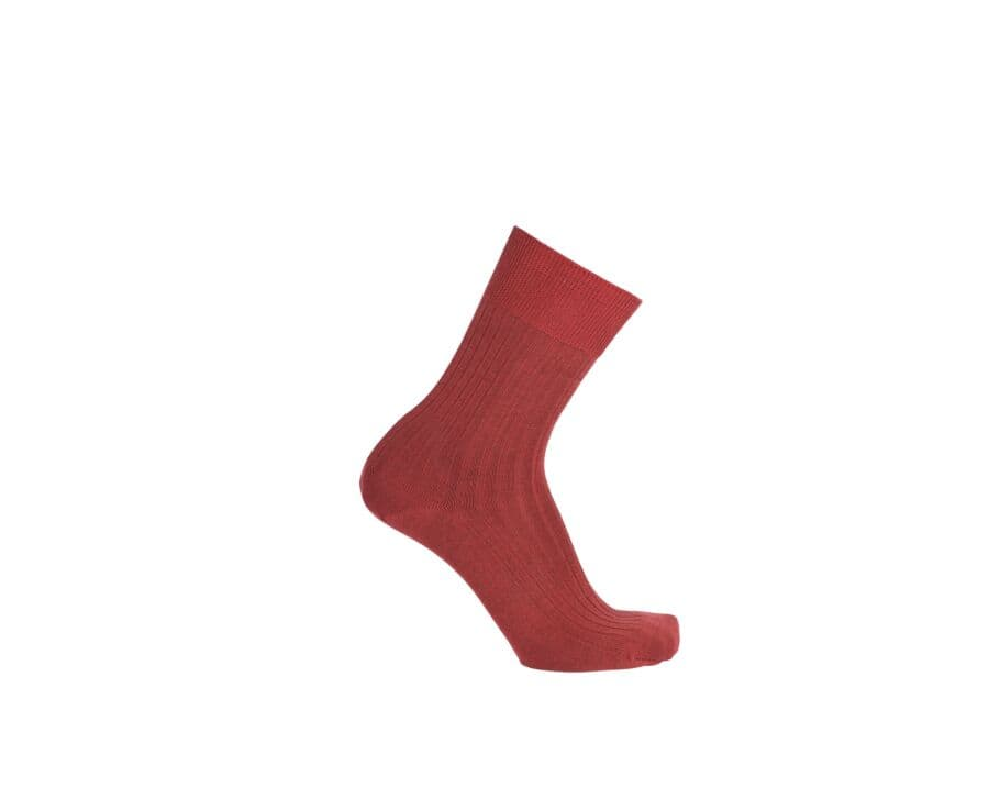 Mercerised Cotton Socks With Ribbing Red Melange
