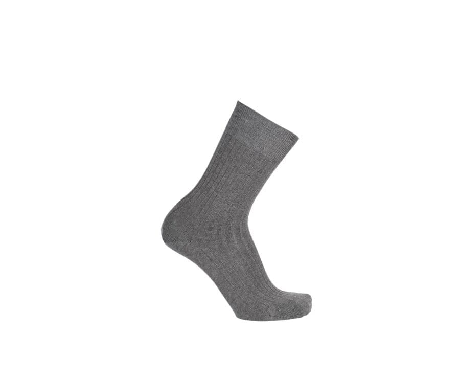 Mercerised Cotton Socks With Ribbing Middle grey melange