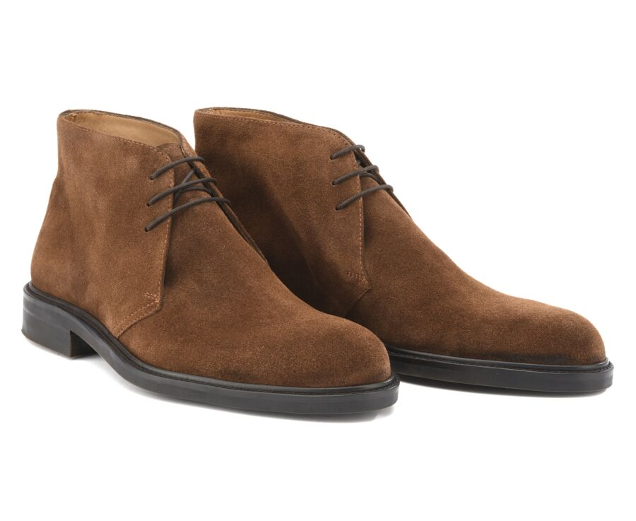 Low boots homme Velours Havane - GREENWICH GOMME CITY