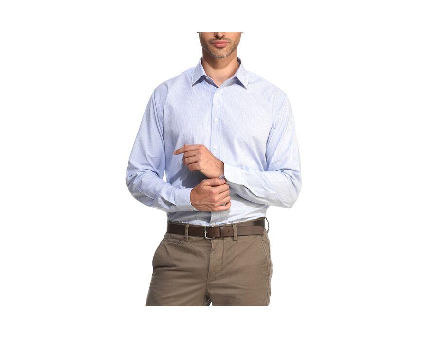 Chemise à carreaux fins blancs et bleus - MARTIN