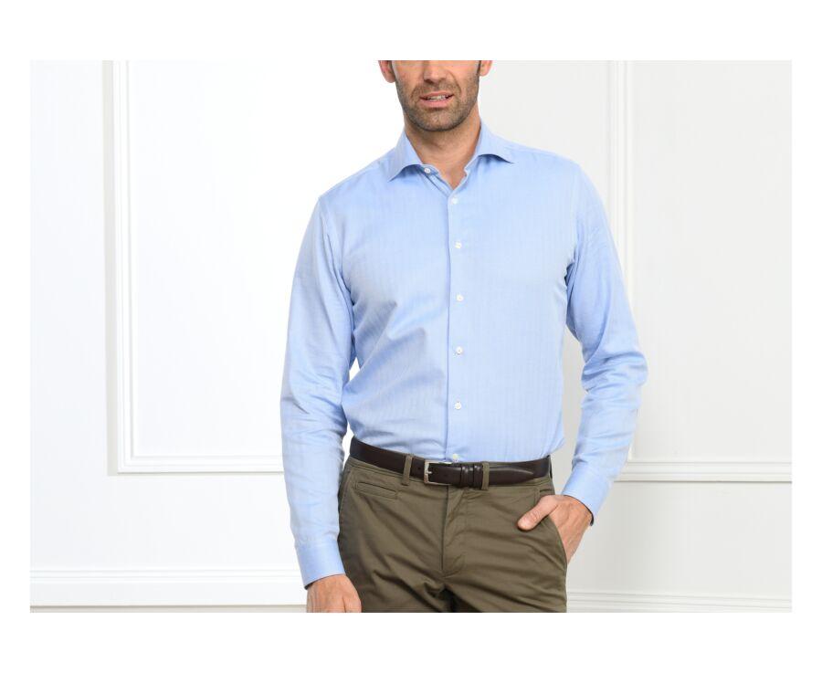 Chemise bleue twill chevrons - Col italien - LUIGI
