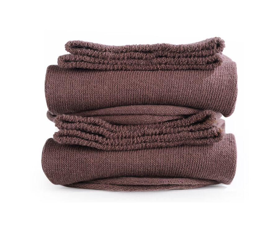 Mercerised Cotton Socks Without Ribbing Havana