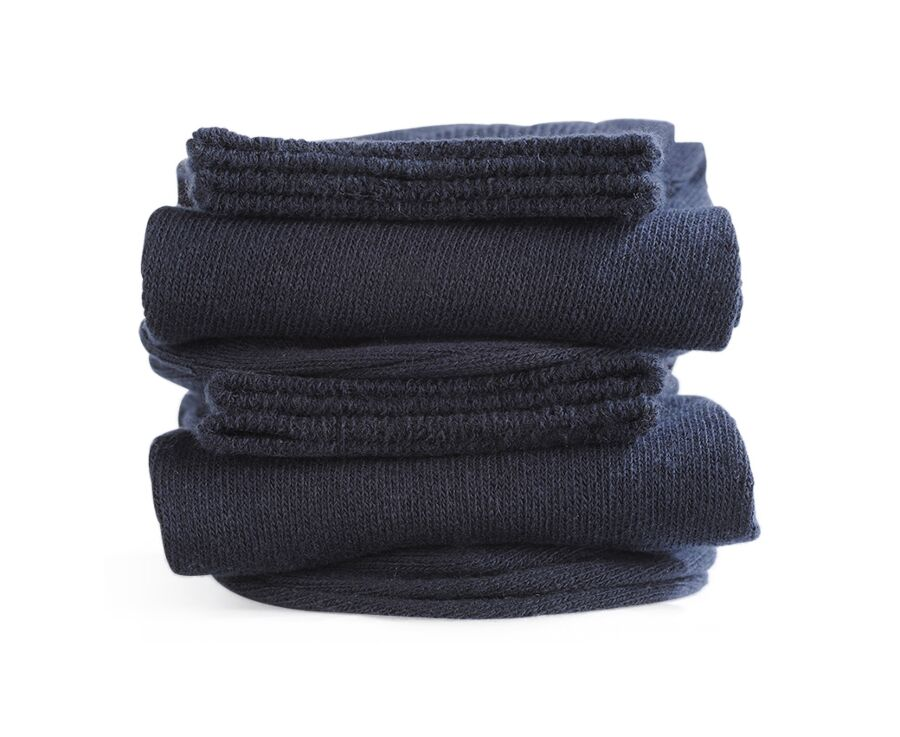 Mercerised Cotton Socks Without Ribbing Navy
