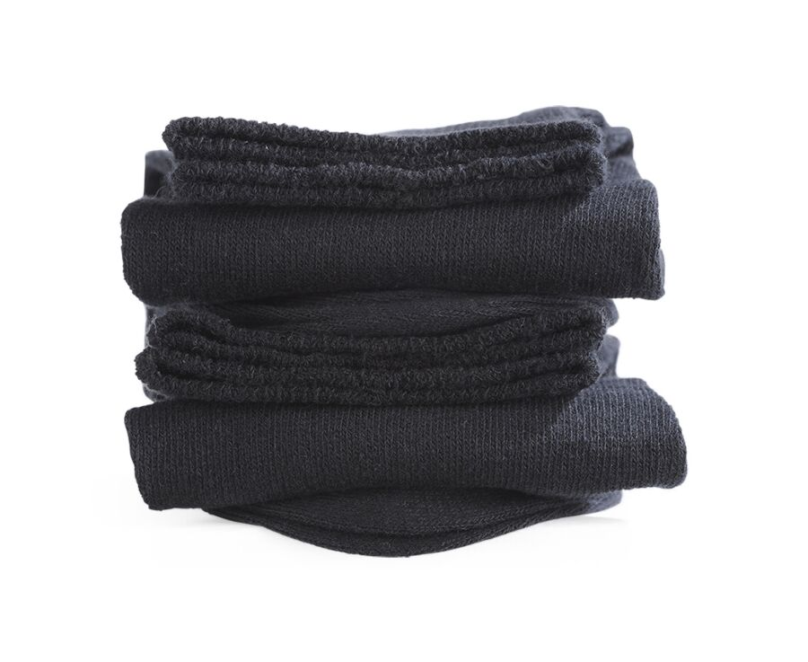Mercerised Cotton Socks Without Ribbing Black