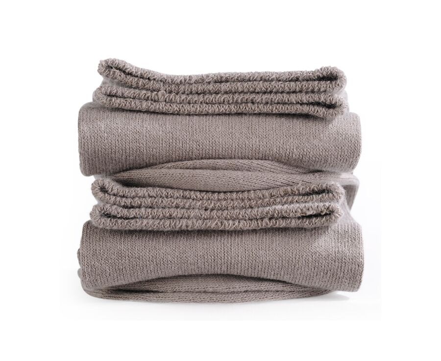 Mercerised Cotton Socks Without Ribbing Taupe
